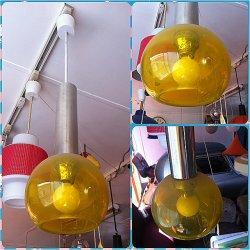 画像1: ペンダントライト 黄色ガラス ナショナル
