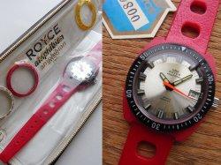 画像1: ◎70年代ROYCEロイスamphibian 赤ダイバー デッドストック