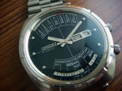 画像1: 60年代 オリエント 万年カレンダー 紺文字盤 27石 ジャンク 国産時計博物館