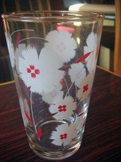 画像1: 花柄 白&赤 コップ