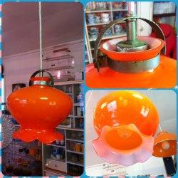 画像1: オレンジ変わった形のガラス照明