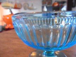 画像2: 青ガラスコップ アイスクリーム カキ氷 レトロ