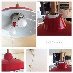 画像4:  ホーロー赤色 2灯照明 スイッチ付き