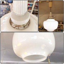 画像1: ナショナル 松下電器 乳白色ガラス白熱灯照明 昭和レトロ