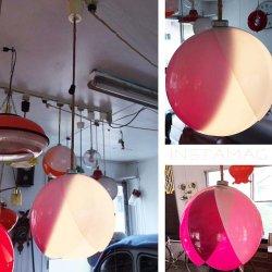 画像1: ナショナル チューリップ照明 ムラサキ&シロ 2 昭和レトロ