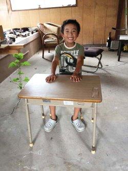 画像1: 低学年用 校机 机.椅子セット 三原機工 木製天板 古い