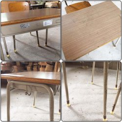 画像3: 低学年用 校机 机.椅子セット 三原機工 木製天板 古い