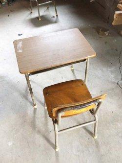 画像2: 低学年用 校机 机.椅子セット 三原機工 木製天板 古い
