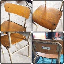 画像4: 低学年用 校机 机.椅子セット 三原機工 木製天板 古い