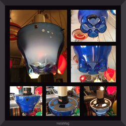 画像5: 東芝 変わった形のスイッチ付き照明 ブルー&ホワイト