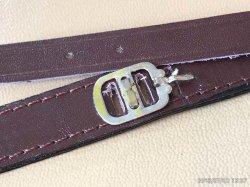 画像2: 当時物未使用 パリス管用 通し皮ベルト 銀色尾錠