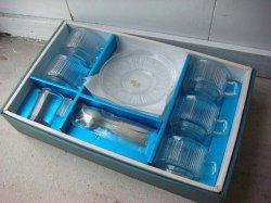 画像1: SOGAガラス 箱付きデッドストック 透明ガラス コーヒカップ&ソーサー 5脚セット